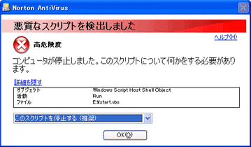 Norton AntiVirusダイアログ