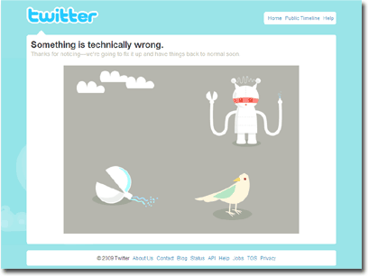 [Twitter Error] Something is technically wrong. Thanks for noticing - we're going to fix it up and have things back to normal soon.