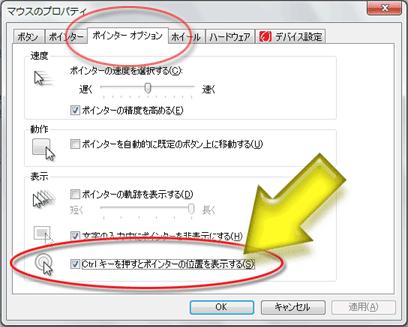 「Ctrlキーを押すとマウスポインタの位置を表示する」項目