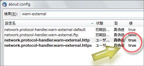 network.protocol-handler.warn-external.httpの値をtrueに変更