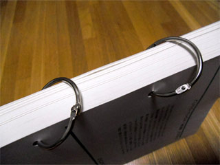 リングで綴った裁断本(背表紙側から見たところ)