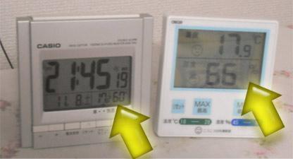 CASIO製の温度・湿度表示機能付き電波時計と、クレセル製の温湿度計。