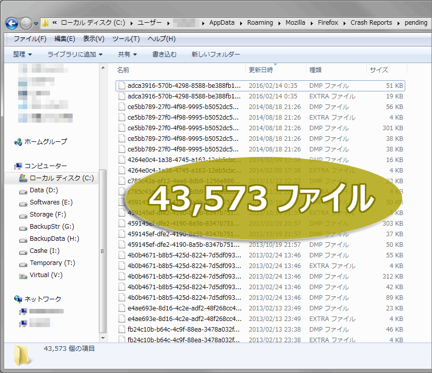 フォルダパス C:\Users\(ユーザ名)\AppData\Roaming\Mozilla\Firefox\Crash Reports\pending
