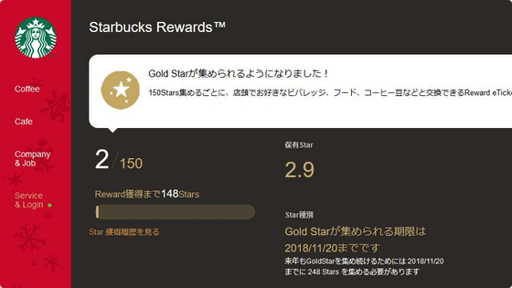 Starbucks Rewards Gold Star 2/150